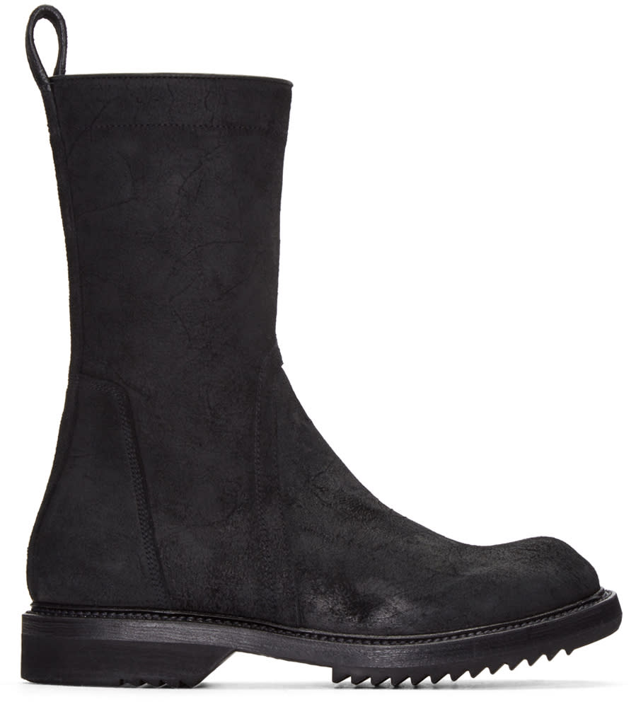 Rick Owens Black Suede Creeper Boots