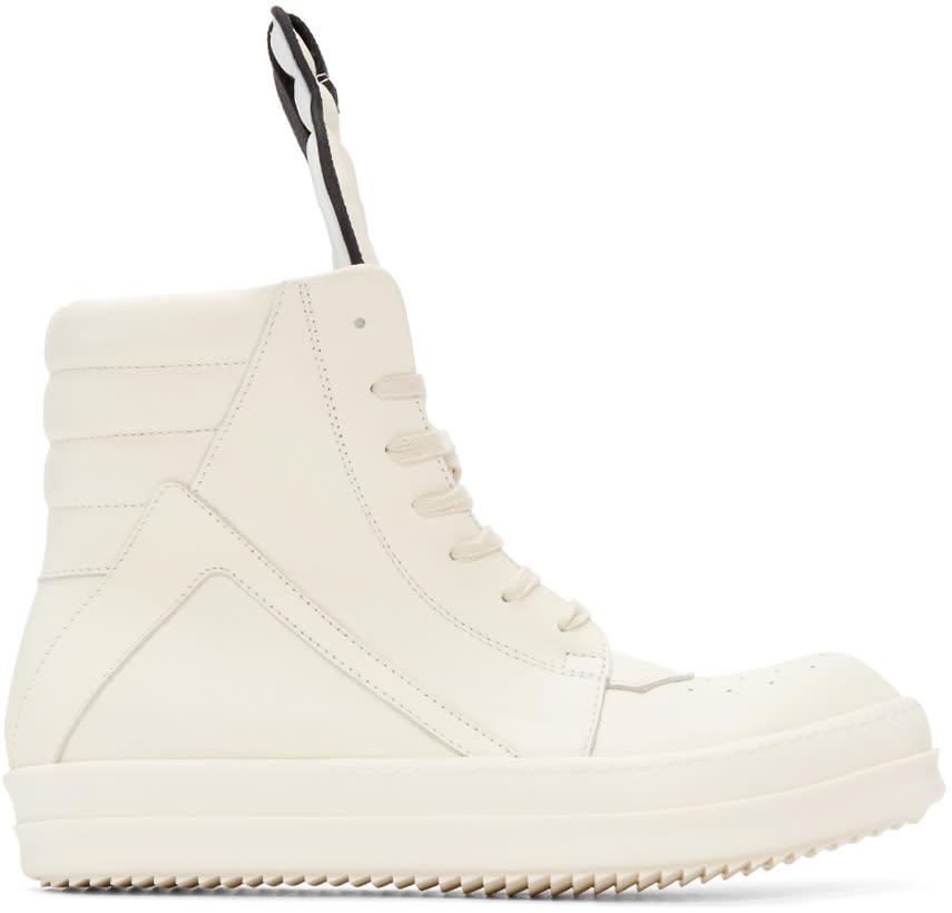 Rick Owens White Geobasket High-top Sneakers