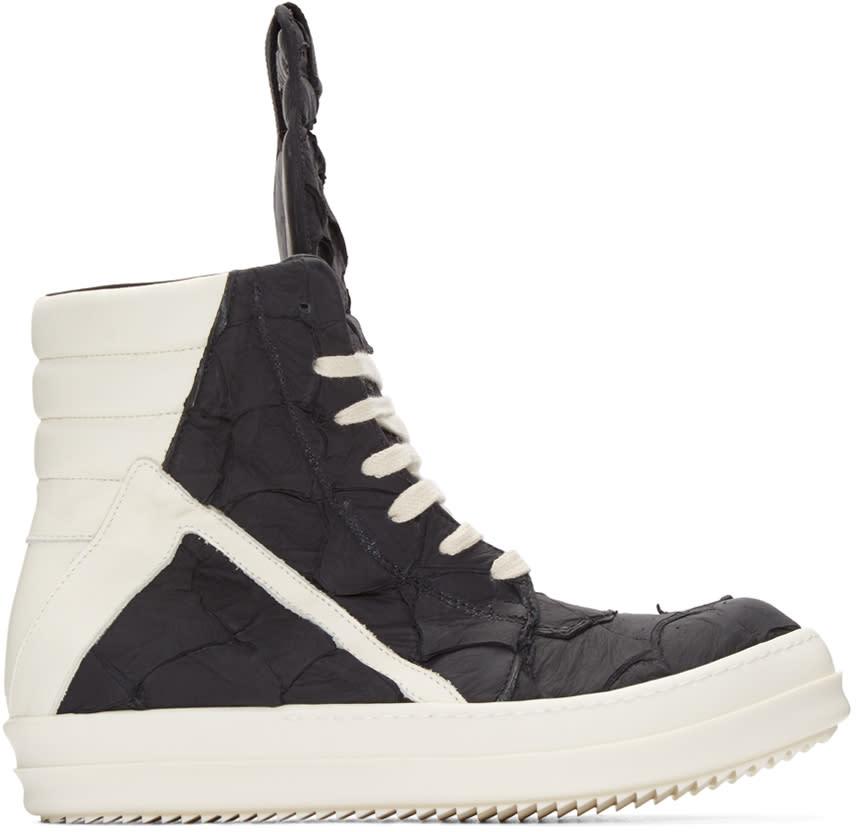 Rick Owens Black Pirarucu Geobasket High-top Sneakers