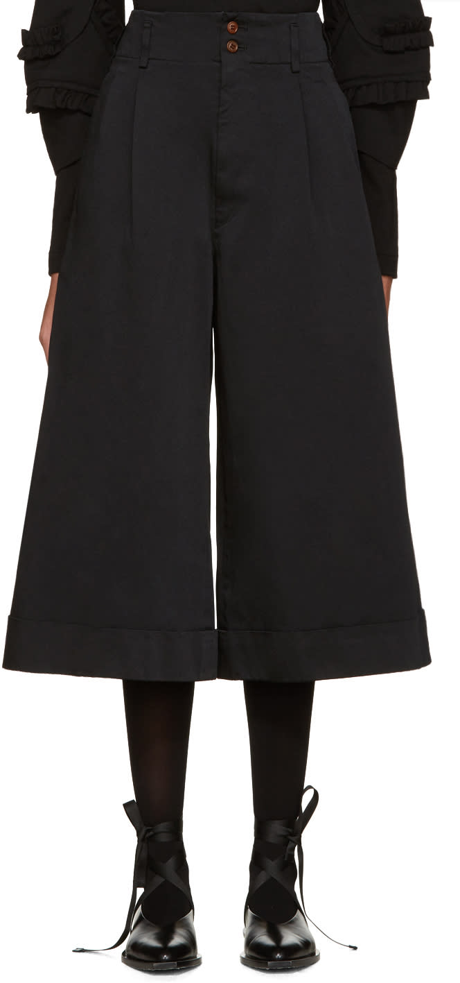 Comme Des Garcons Black Satin Cuffed Trousers