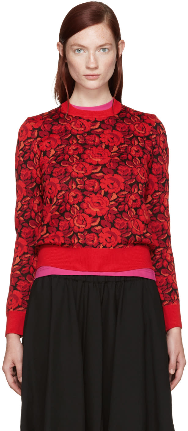 Comme Des Garcons Red Wool Floral Sweater