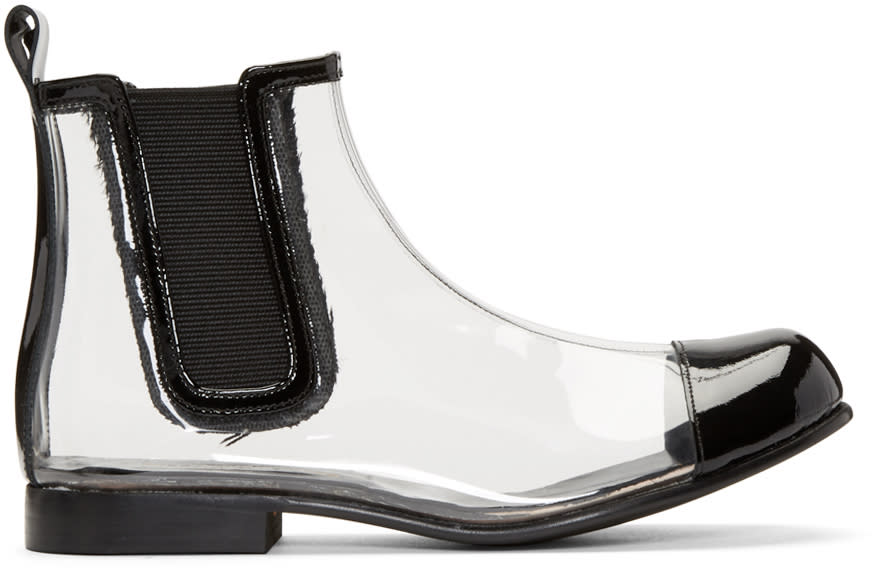 Comme Des Garcons Clear and Black Pvc Chelsea Boots