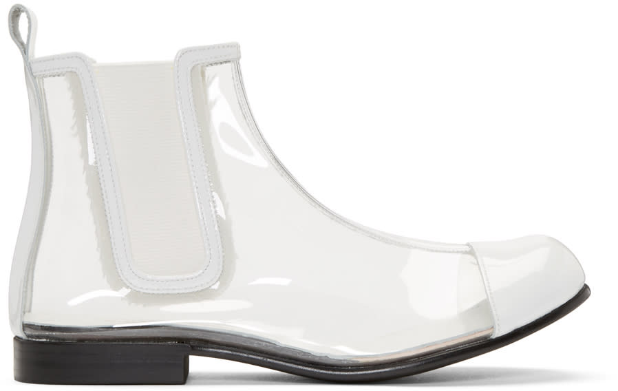 Comme Des Garcons Clear and White Pvc Chelsea Boots
