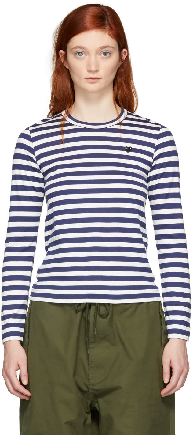 Comme Des Garçons Play Navy and White Striped Small Heart Patch T-shirt