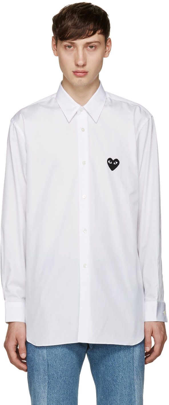 Comme Des Garcons Play White Poplin Heart Shirt