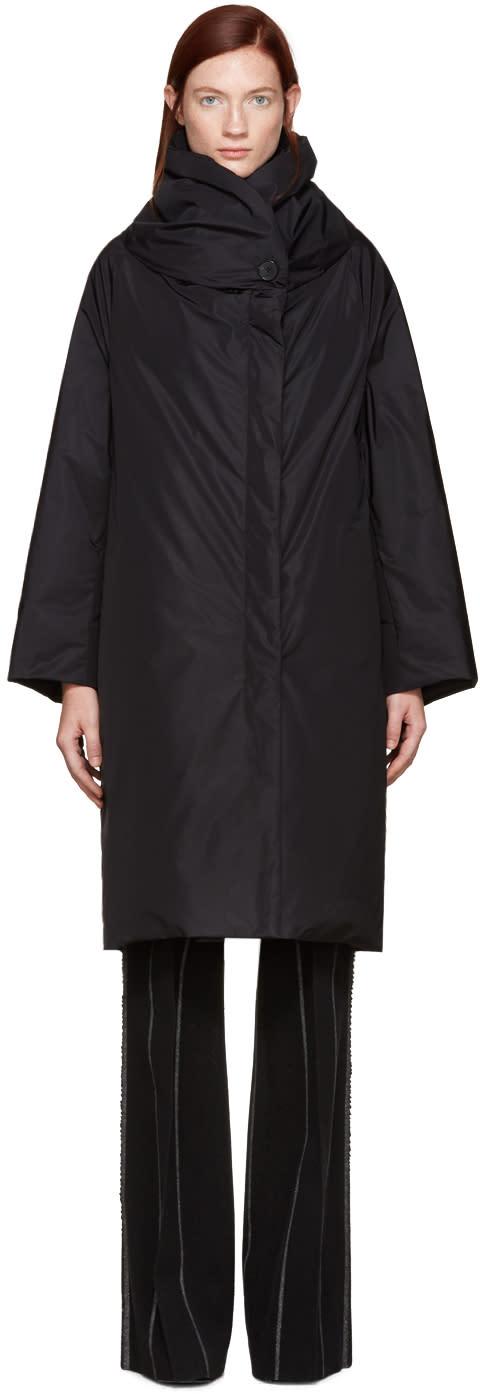 Jil Sander Black Down Shawl Collar Coat