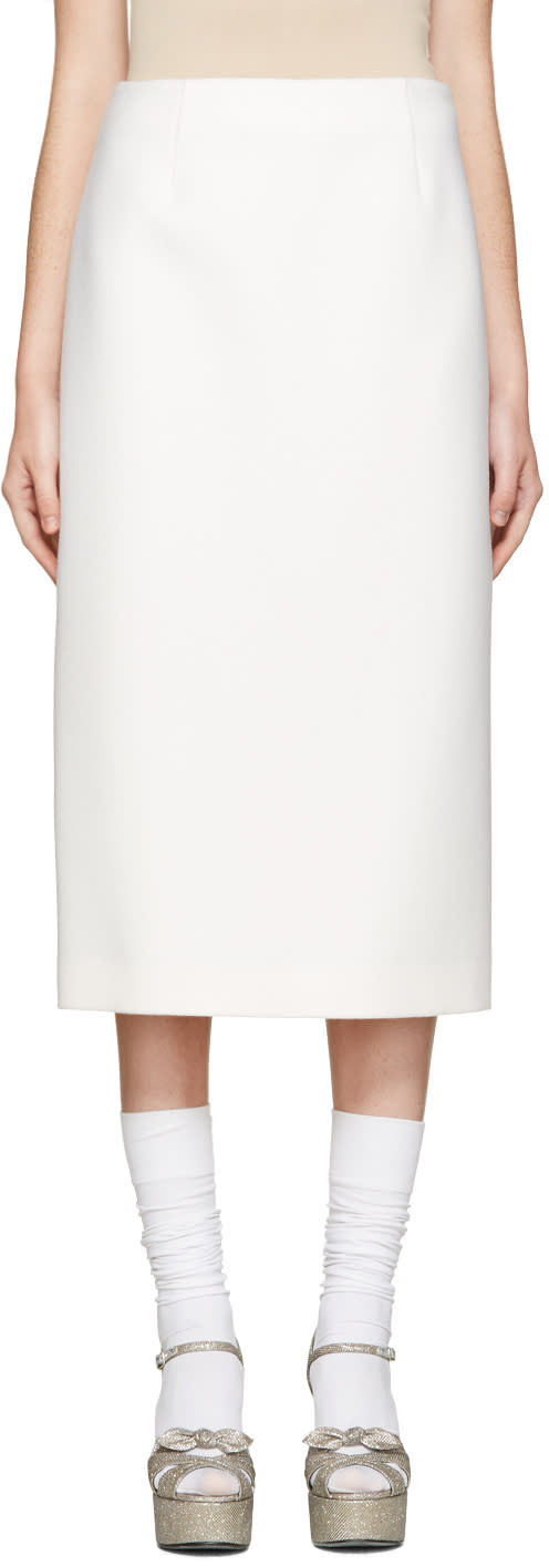 Jil Sander Ivory Wool Bourgeois Skirt