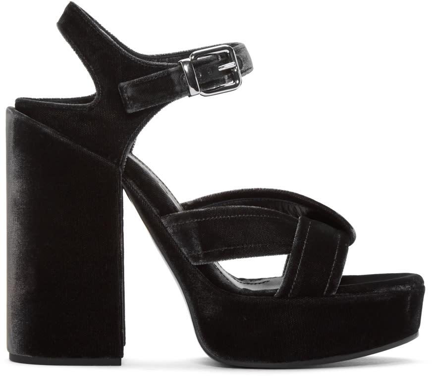 Jil Sander Grey Velvet Platform Sandals