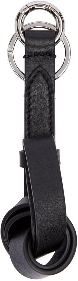 Jil Sander Black Leather Knot Keychain