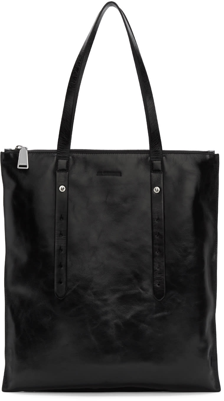 Jil Sander Black Rolled Shopper Bag