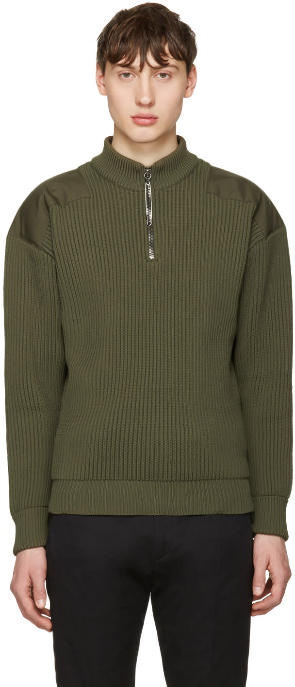 Jil Sander Green Shoulder Patch Sweater