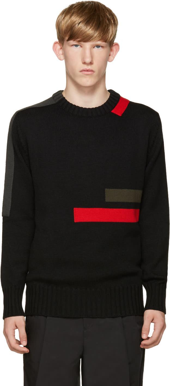 Jil Sander Black Wool Stripes Sweater