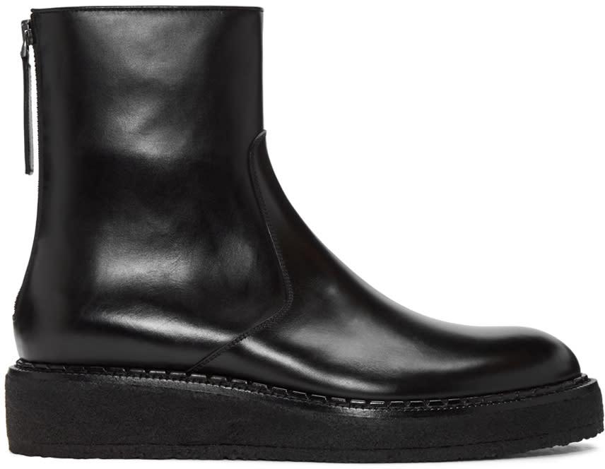 Jil Sander Black Crepe Sole Boots