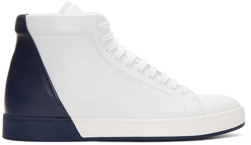 Jil Sander White and Navy Mid-top Sneakers