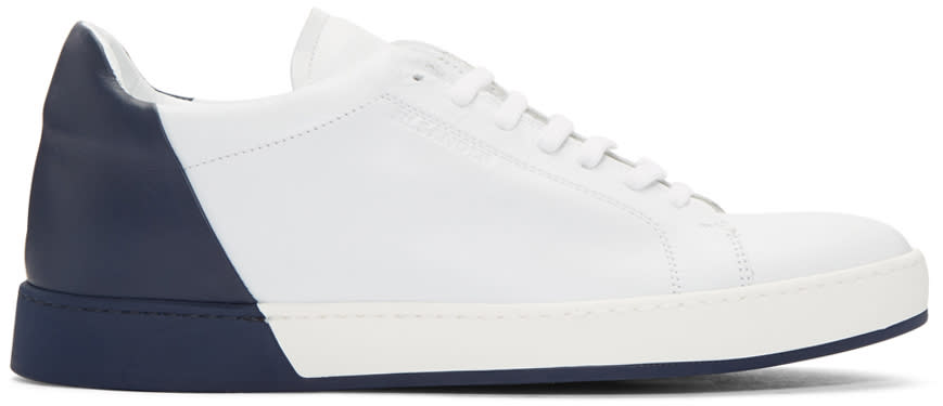 Jil Sander White and Navy Leather Sneakers