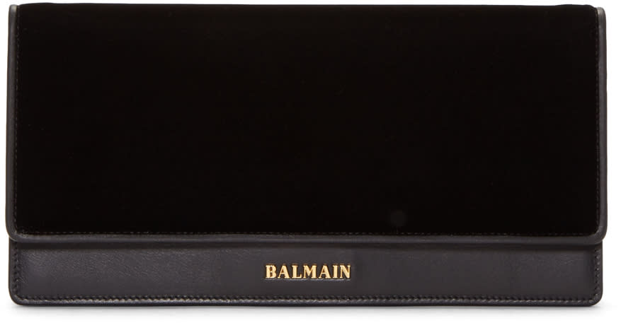 Balmain Black Leather and Velvet Clutch