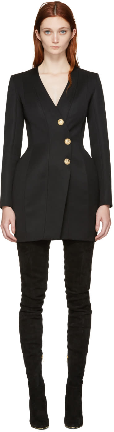 Balmain Black Button Dress