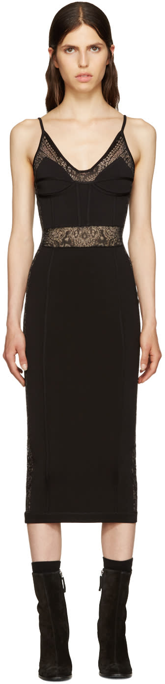 Balmain Black Knit Panelled Dress