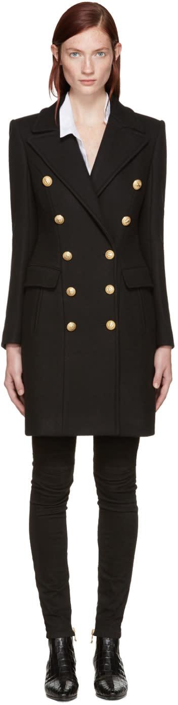 Balmain Black Wool Classic Coat