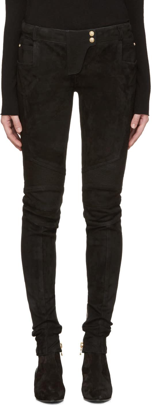 Balmain Black Suede Biker Pants