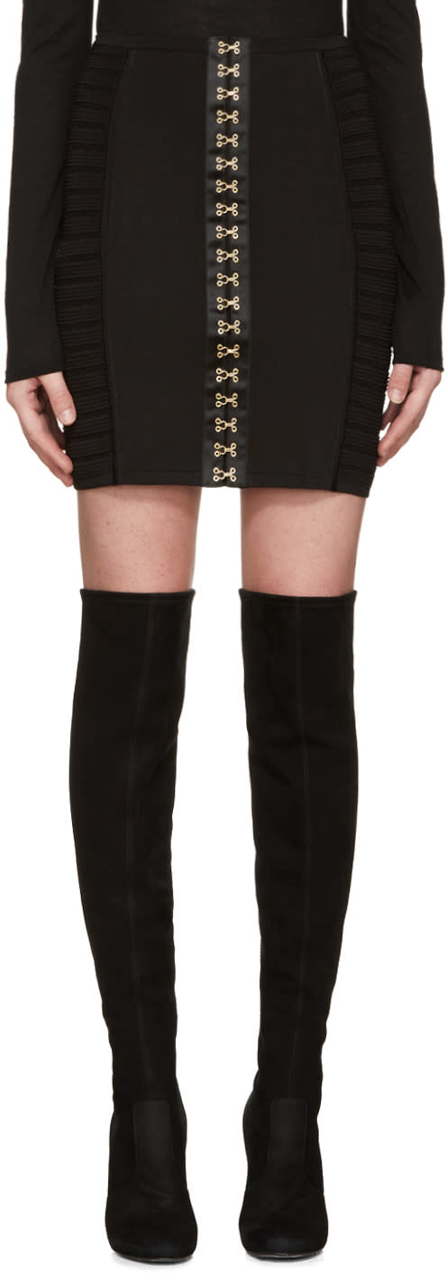 Balmain Black Hook-eye Miniskirt