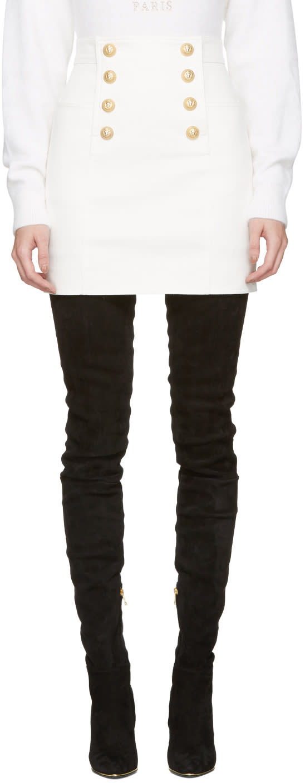 Balmain White Buttoned Miniskirt