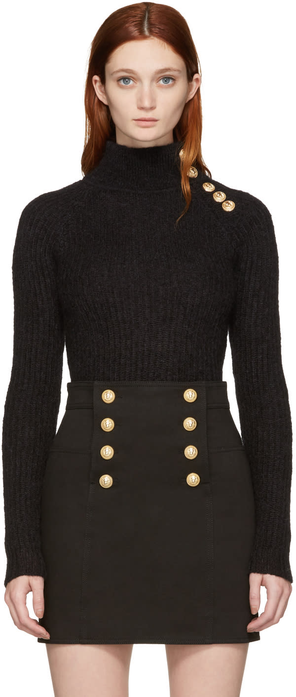 Balmain Black Buttoned Mohair Turtleneck