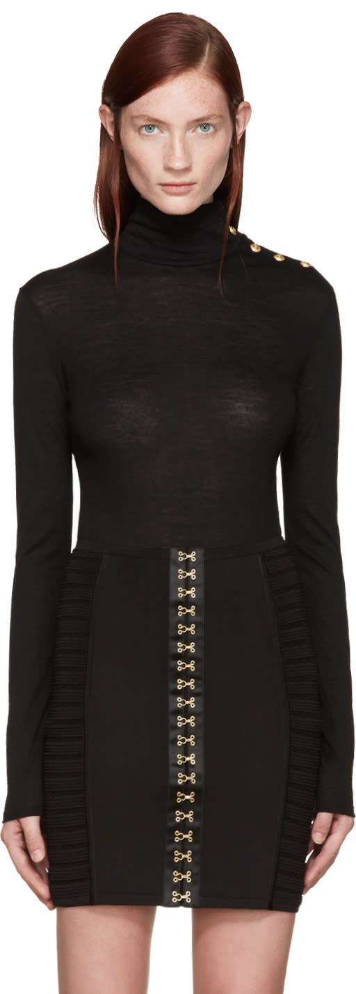 Balmain Black Wool Turtleneck