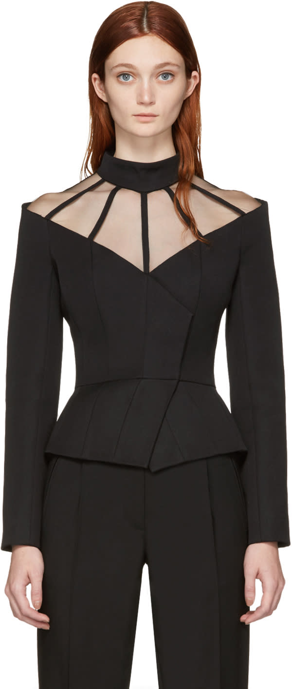 Balmain Black Panelled Peplum Top