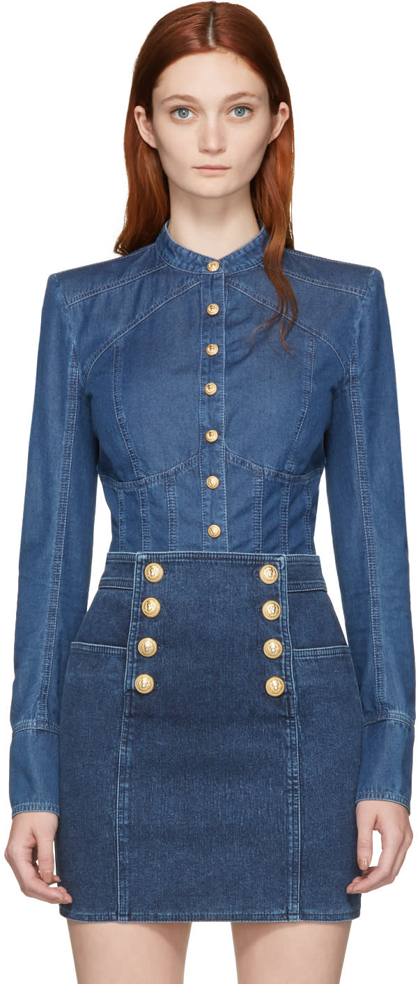 Balmain Blue Denim Shirt