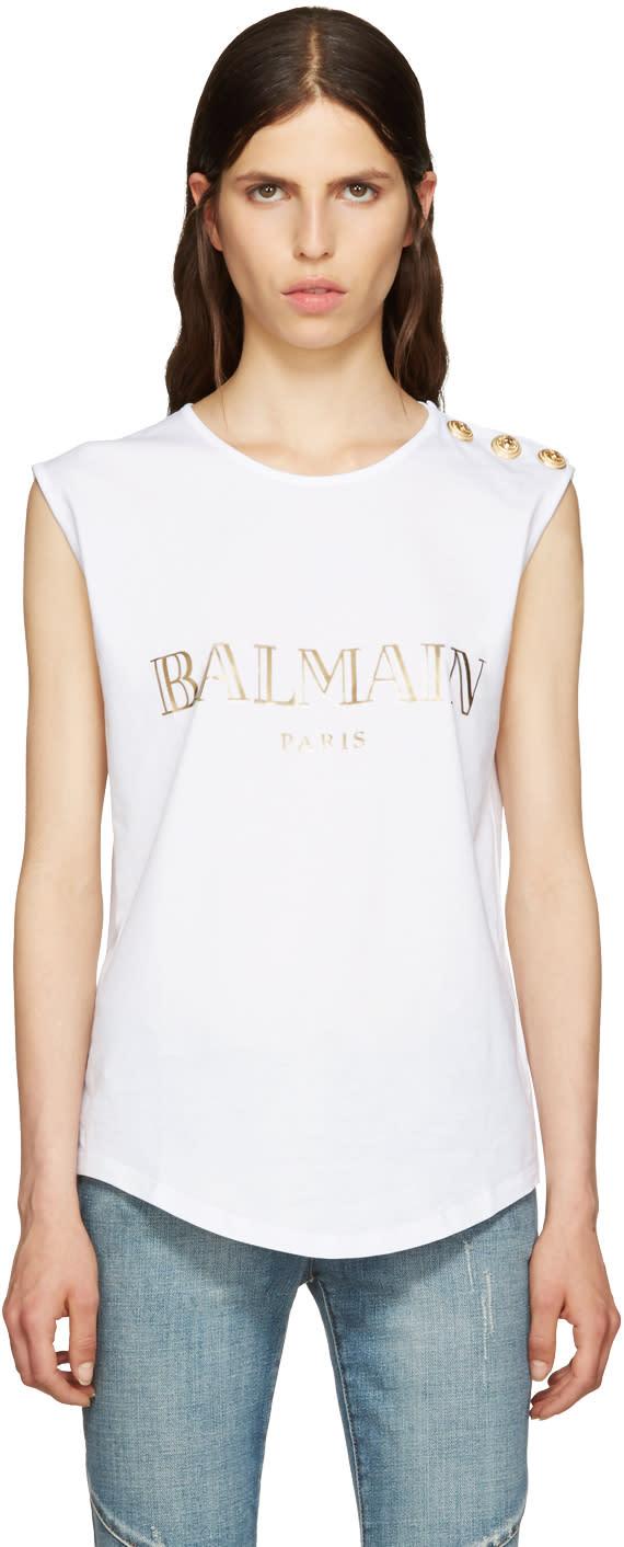 Balmain tops balmain women 39 s shirts and blouses cj for Balmain white logo t shirt