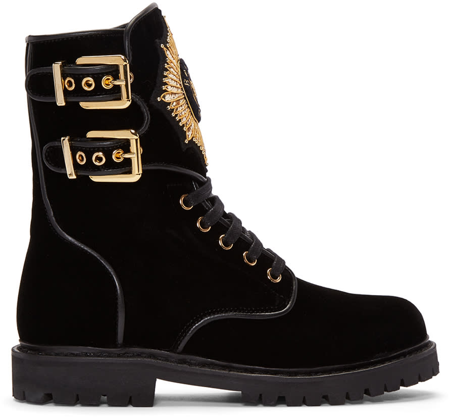 Balmain-Black-Velvet-Eagle-Combat-Boots