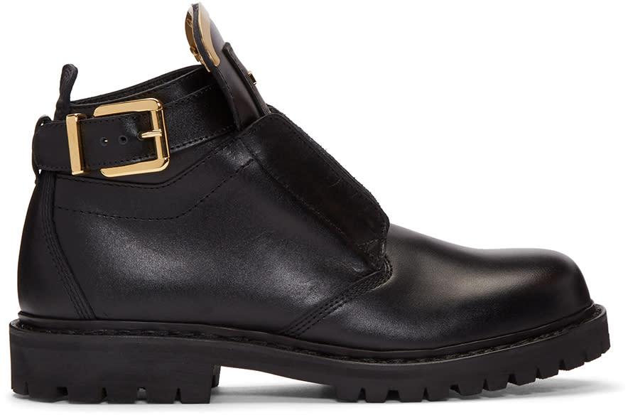 Balmain Black King Buckle Combat Boots