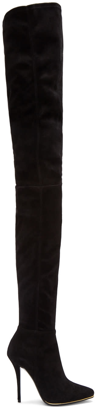 Balmain-Black-Suede-Catherine-Over-the-knee-Boots