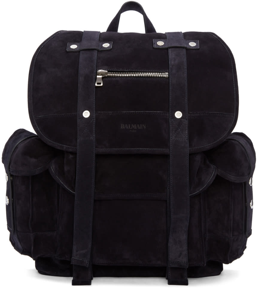 Balmain Navy Suede Backpack