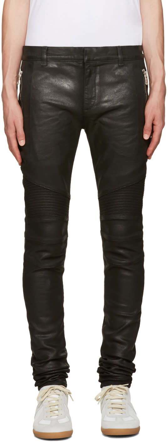 Balmain Black Coated Super Skinny Jeans