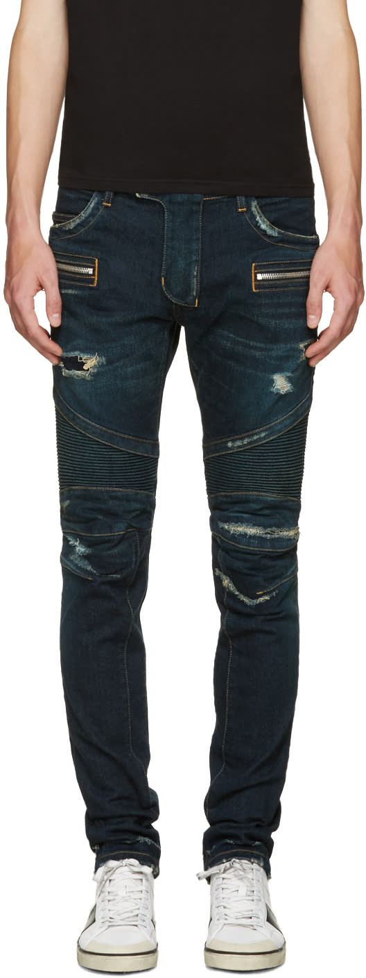 Balmain Blue Washed Biker Jeans