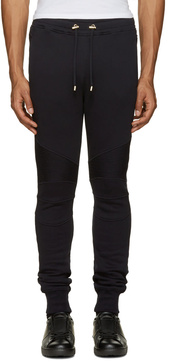 Balmain Navy Biker Lounge Pants