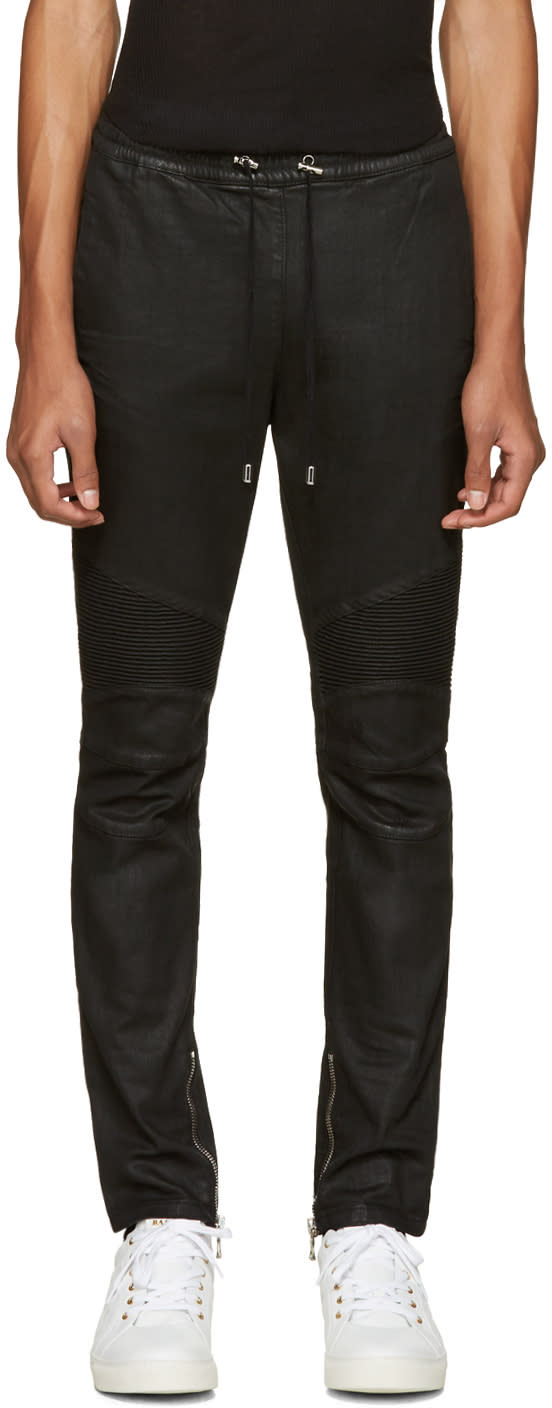 Balmain Black Biker Lounge Pants