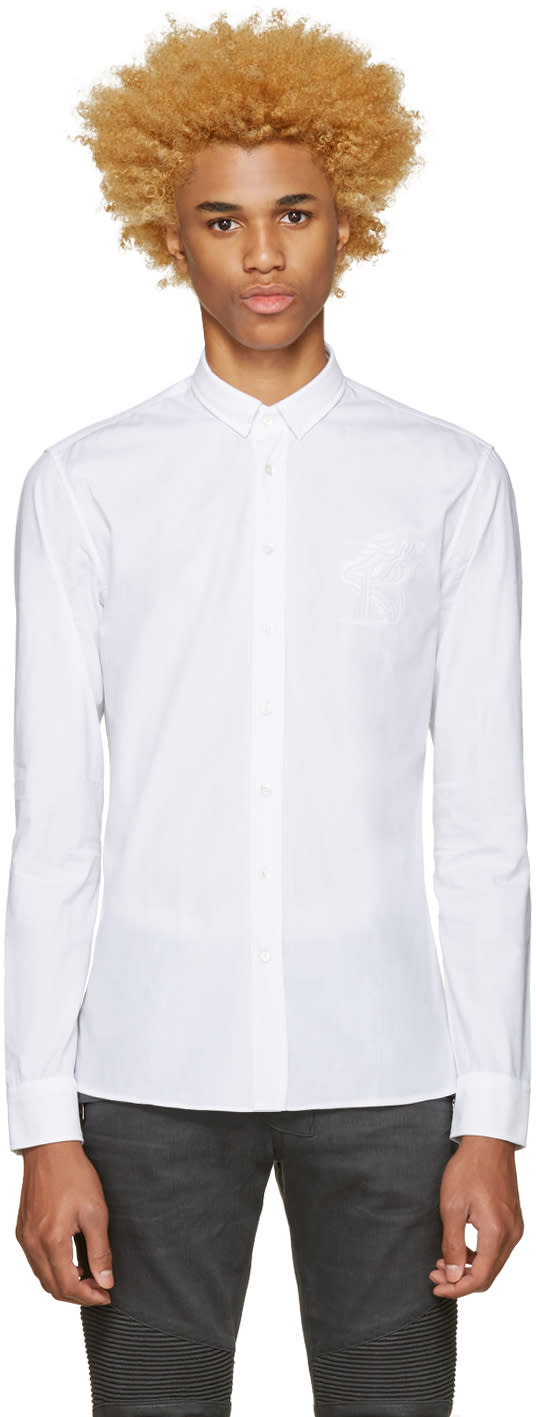 Balmain White Pique Trimmed Shirt