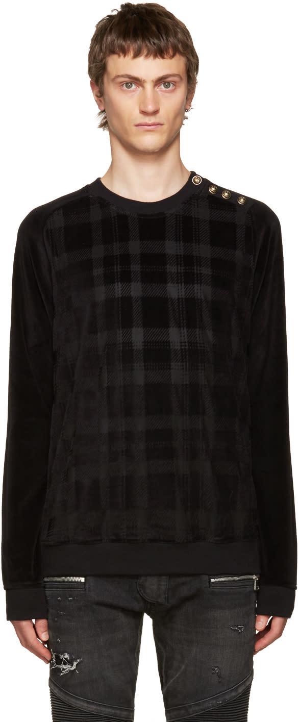 Balmain Black Velvet Check Pullover