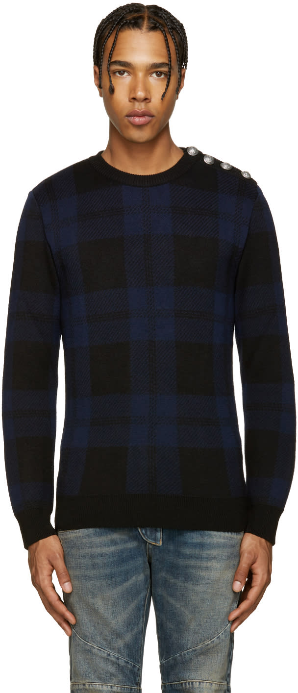 Balmain Black and Blue Tartan Sweater