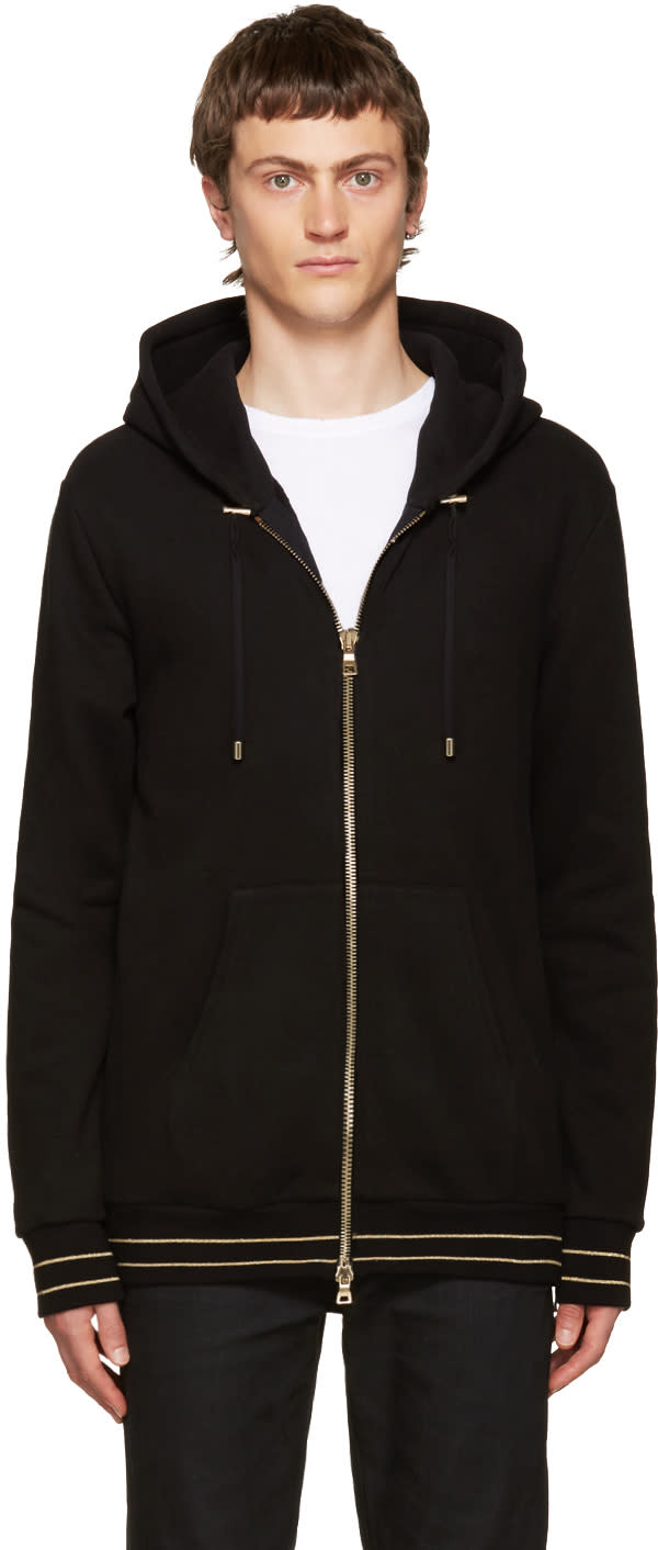 Balmain Black and Gold Zip Hoodie