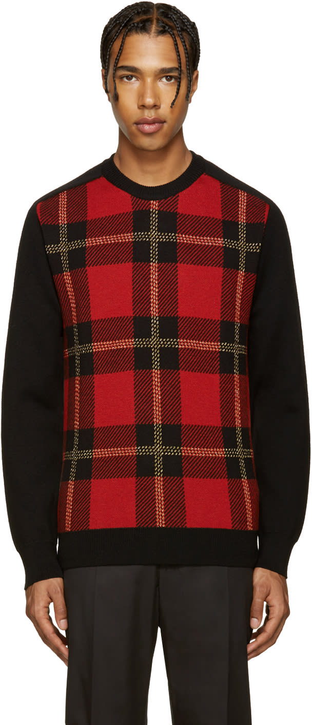 Balmain Black and Red Tartan Sweater