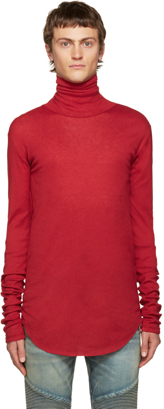 Balmain Red Ribbed Turtleneck