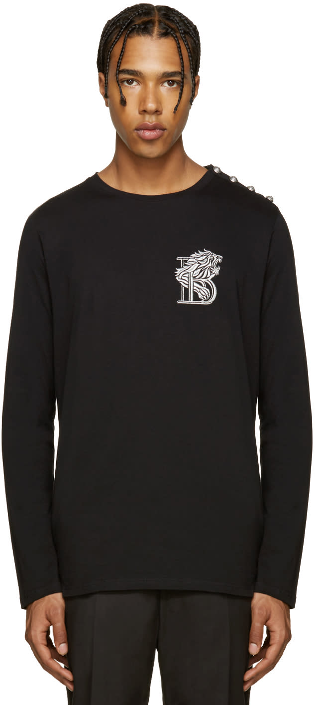 Balmain Black Embroidered b T-shirt