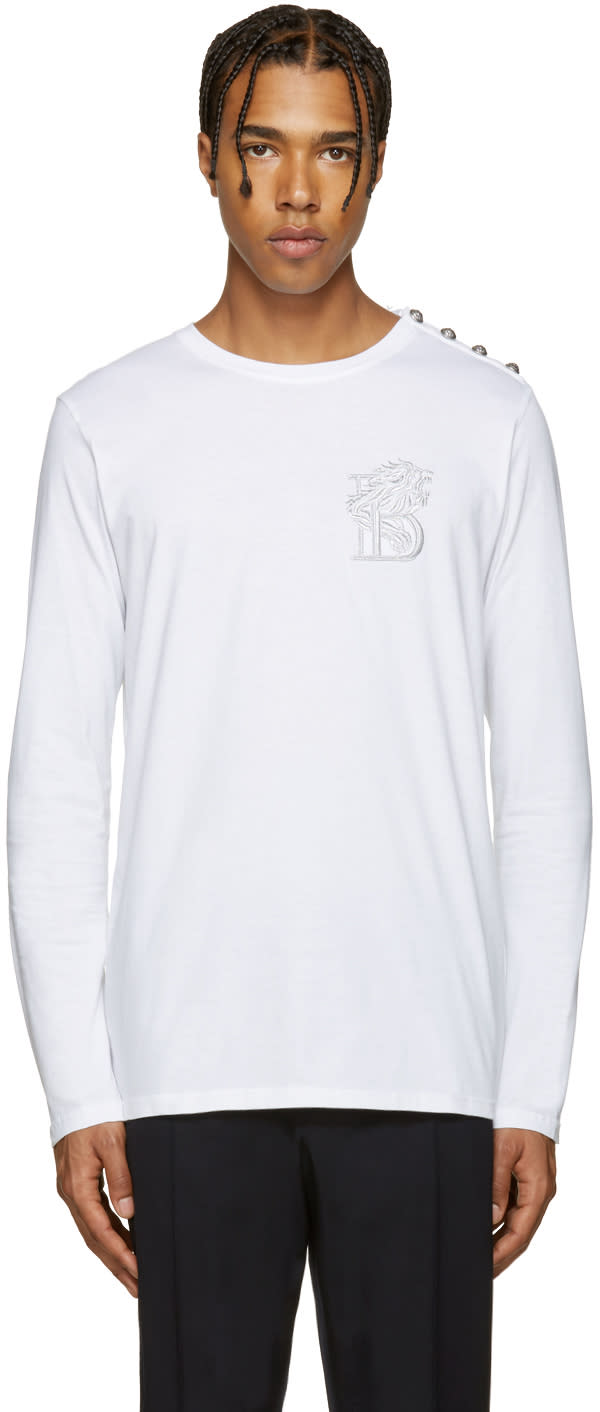 Balmain White Embroidered b T-shirt