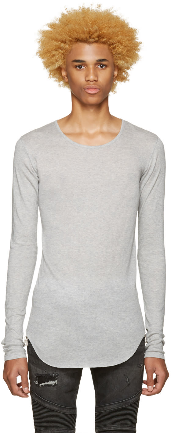 Balmain Grey Ribbed T-shirt