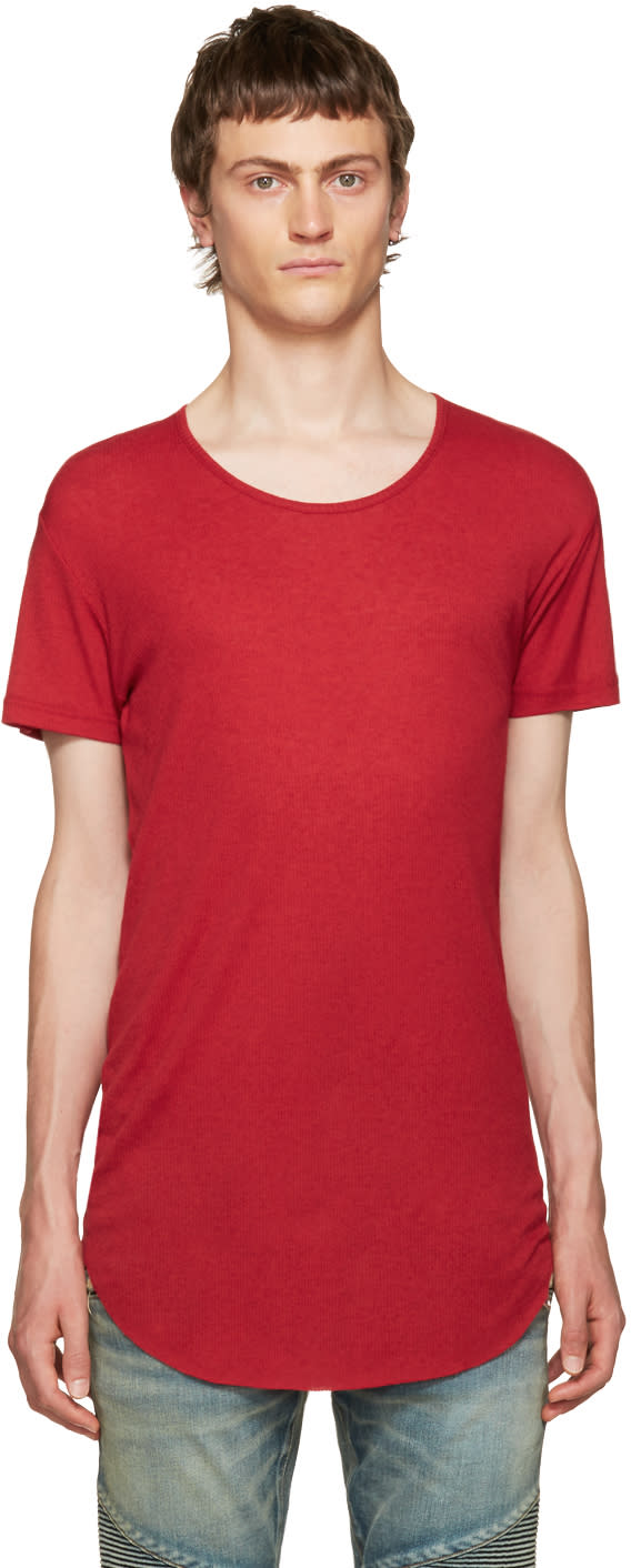 Balmain Red Ribbed T-shirt