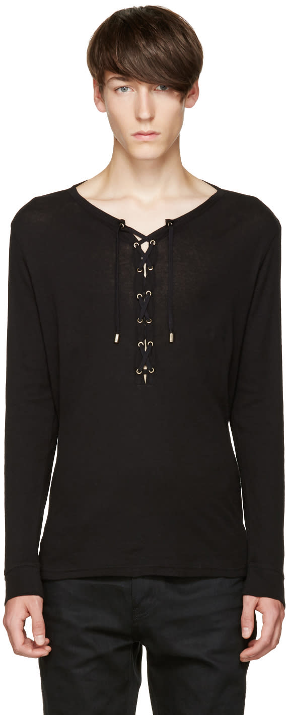 Balmain Black Lace-up T-shirt